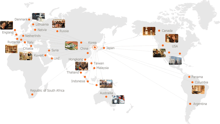 Showing the countries and locations around the world where Hurom Juicers operate and manufacture from.